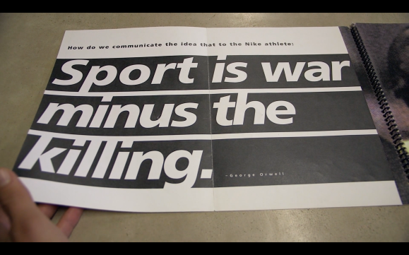 Nike brief 'Sport is war minus the kiling'